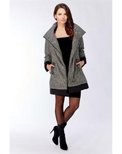 Короткое итальянское пальто трапеция на молнии утепленное Visconf violanti