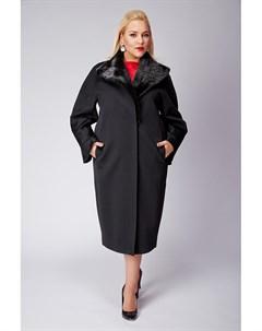 Длинное черное пальто большого размера с норкой Heresis