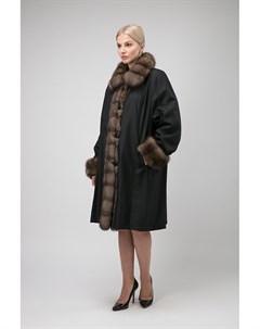 Зимнее двустороннее пальто на меху с меховым воротником Santini