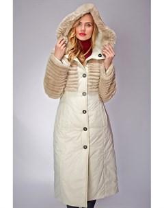 Приталенное демисезонное пальто с натуральным мехом Visconf violanti