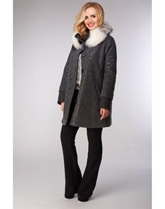 Молодежное женское пальто с меховым воротником из лисы Visconf violanti