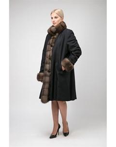 Теплое женское пальто на меху для зимы без капюшона Santini