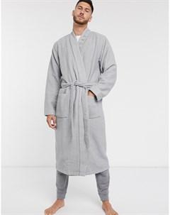 Серый халат с вафельной фактурой Boss