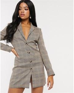 Платье блейзер в клетку x Fashion Influx Мульти In the style