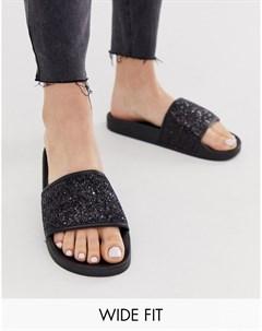 Черные блестящие шлепанцы Simply Be extra wide fit Мульти Simply be extra wide fit