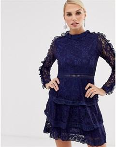 Кружевное короткое приталенное платье Ax paris