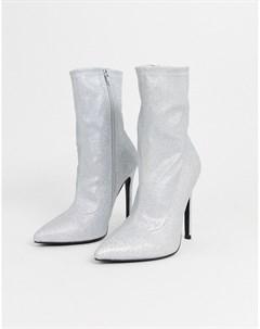 Серебристые блестящие полусапожки на высоком каблуке Asos design
