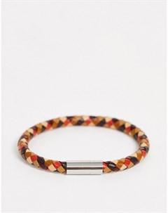Разноцветный кожаный плетеный браслет Мульти Paul smith
