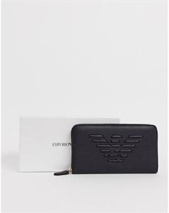 Кожаный кошелек на молнии с логотипом Черный Emporio armani