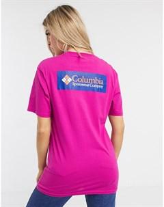 Розовая футболка с принтом на спине на ASOS Розовый Columbia
