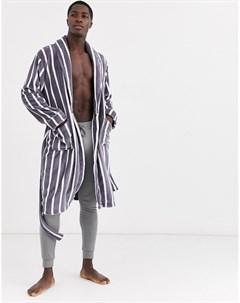 Серый халат в полоску Темно синий French connection