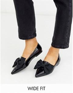 Черные балетки для широкой стопы с заостренным носком Asos design