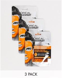 Набор из 3 восстанавливающих масок для лица LOreal Men Expert Hydra Energetic Бесцветный L'oreal men expert
