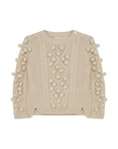 Кашемировый свитер фактурной вязки с помпонами Burberry