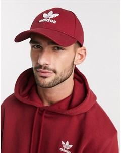 Бордовая кепка с логотипом трилистником Красный Adidas originals