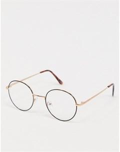Круглые очки с прозрачными стеклами в черной оправе Asos design