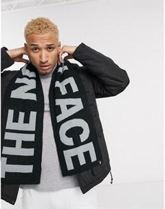 Серый шарф с черными вставками The north face