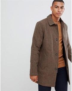Коричневое длинное пальто в клетку из ткани с добавлением шерсти Коричневый Bellfield