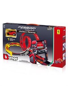 Трек GoGears Ferrari Двойная петля 18 31301 с машинкой Bburago