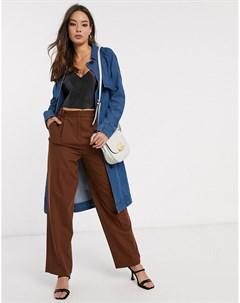 Синий джинсовый тренч с поясом Vero moda
