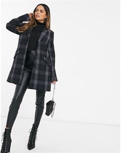 Шерстяное пальто в клетку Черный G-star