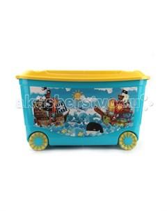 Ящик для игрушек на колесах 580х390х335 мм с аппликацией Пластишка