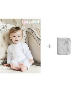 Комбинезон крестильный К1 21 с полотенцем для крещения Ангелочки с вышивкой Lucky child