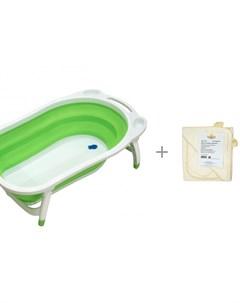 Ванна детская Folding Smart Bath с 2 мя полотенцами и варежкой для купания Папитто Funkids