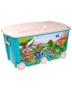 Ящик для игрушек на колесах с декором 66 5 л 68 5 39 5 38 5 мм Пластишка