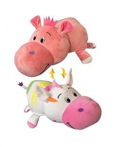 Мягкая игрушка Вывернушка Радужная Зебра Розовый Гиппопотам 2 в 1 76 см 1toy