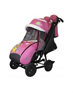Санки коляска Snow City 2 1 Мишка со звездой на больших надувных колёсах Galaxy