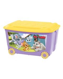 Ящик для игрушек на колесах с аппликацией 580Х390Х335 мм Tom and jerry