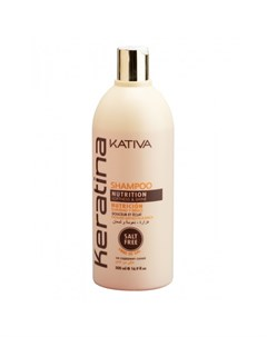 Keratina Укрепляющий шампунь с кератином для всех типов волос 500 мл Kativa