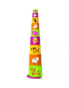 Развивающая игрушка Ведерко пирамидка звери 9 предметов Gowi
