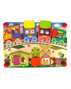 Деревянная игрушка Бизиборд Вагончики Alatoys
