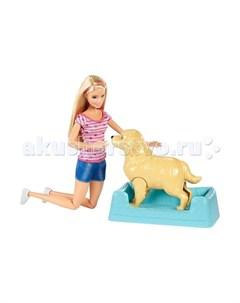 Mattel Кукла Барби и собака с новорожденными щенками Barbie