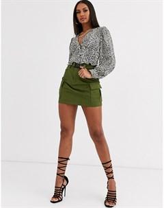 Зеленая мини юбка в стиле милитари Зеленый Love & other things