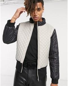 Серая стеганая куртка с высоким воротом Серый One above another