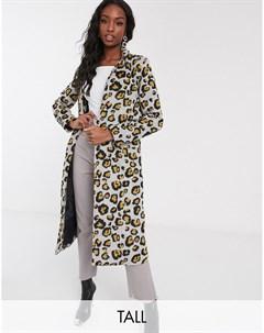 Пальто с леопардовым принтом Серый Brave soul tall