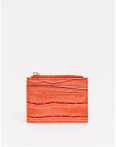 Объемный кошелек для монет и визитница с крокодиловым узором Оранжевый Asos design