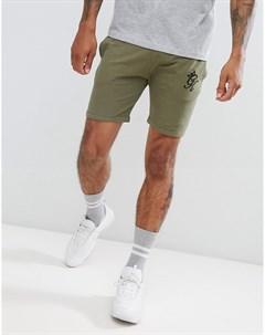 Оливковые шорты с затягивающимся шнурком Зеленый Gym king