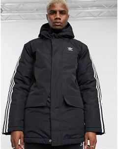 Черная парка с 3 полосками Черный Adidas originals