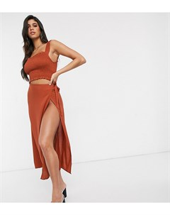 Эксклюзивная пляжная юбка рыжего цвета с запахом Красный Akasa