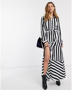 Платье рубашка в полоску Черный Mbym