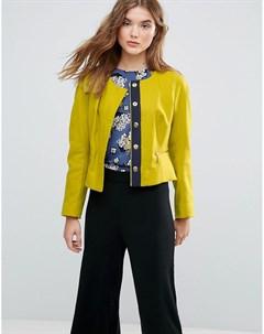 Жакет с карманами на молнии из ткани с добавлением шерсти Closet Зеленый Closet london