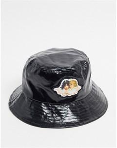 Черная виниловая панама с логотипом Черный Fiorucci