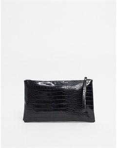 Клатч с эффектом крокодиловой кожи Черный Vero moda
