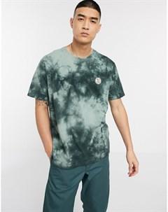 Зеленая футболка с логотипом и принтом тай дай Co Uno Зеленый Nudie jeans