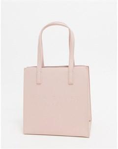 Розовая сумка со штрихованной текстурой и логотипом Розовый Ted baker london