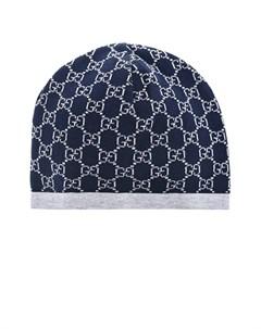 Синяя шапка из тонкой шерсти детская Gucci